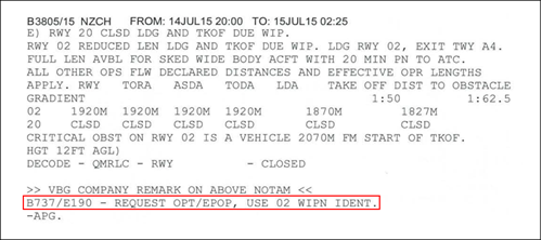 Figure 2: NOTAM B3805/15 dealing with runway 02 reduced length (and closure of runway 20) due to works in progress