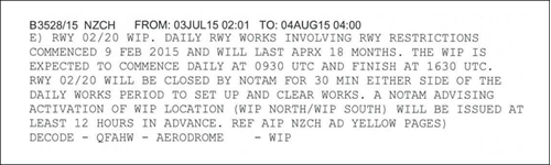 Figure 3: NOTAM (B3528/15) dealing with runway works, identifying the expected times of runway works, and advising that activation times would be notified by separate NOTAM with the location of the works (north or south)
