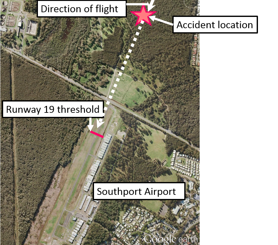 Figure 1: Southport Airport and accident location