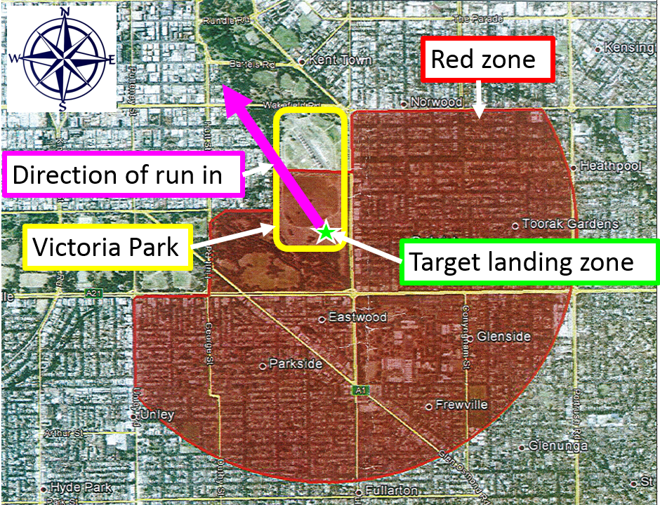 Figure 1: Drop area agreed between Australian Parachute Federation and Airservices Australia