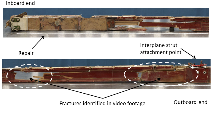 Figure 26: Inboard two thirds of the front face of the lower left wing front spar (showing fractures)