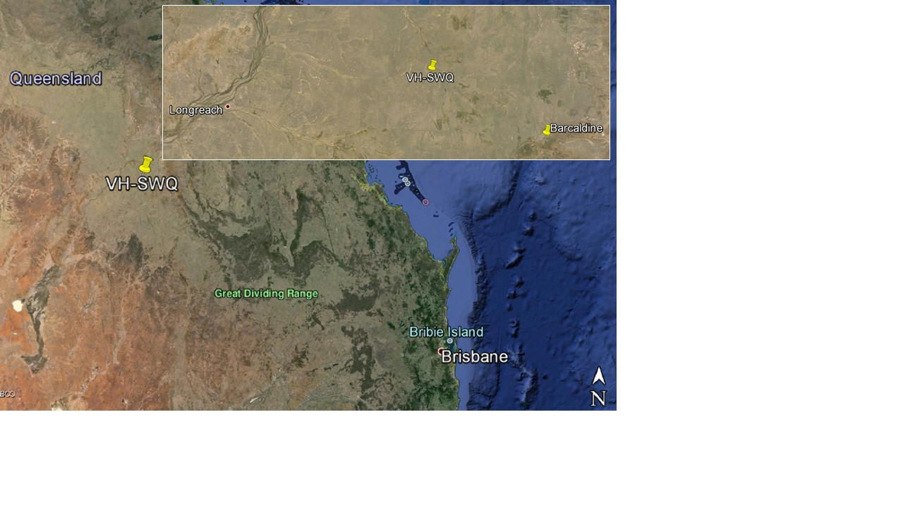 Figure 1: VH-SWQ accident site location, about 43 km northwest of Barcaldine Airport