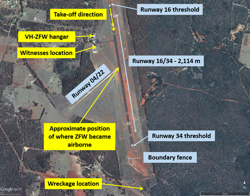 Figure 1: Runways at Inverell Airport, showing the location of the witnesses, approximate position that VHZFW became airborne and wreckage location