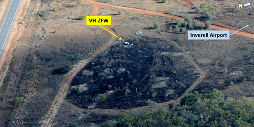 Figure 2: Aerial view of the accident site showing VH-ZFW (looking west-north-west)