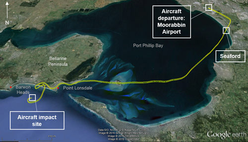Figure 1: Map showingthe aircraft's departure point, its track (in yellow), Seaford and the accident site