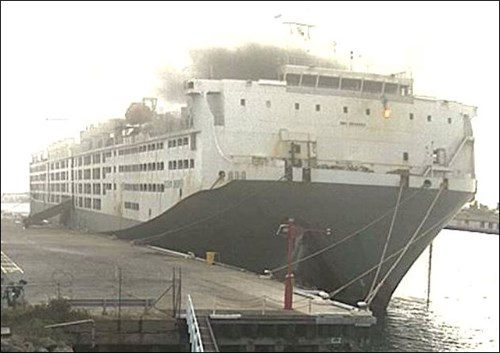 Figure 4: Wharf CCTV footage at about 0800 clearly shows flames in cabin 4