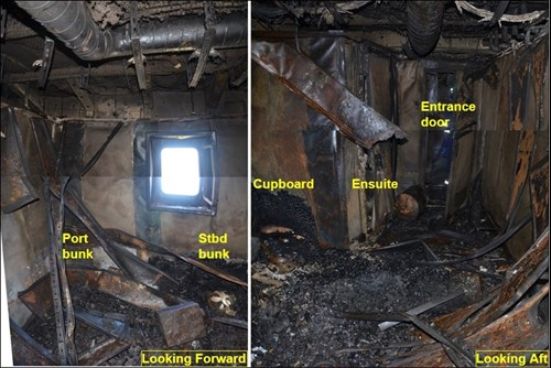 Figure 5: Interior of cabin 4 when first accessed after the fire