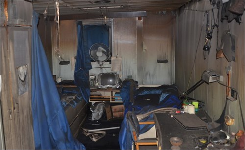 Figure 6: A two-berth cabin after the fire (note fuel load and possible ignition sources)