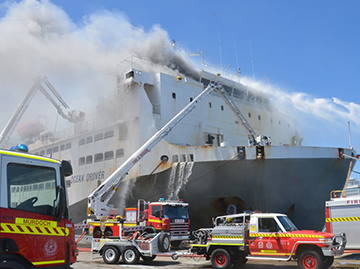 Emergency services responding the fire on board the livestock carrier Ocean Driver