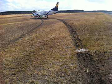 Fairchild Industries Metro 23 aircraft after runway excursion at Portland, Vic