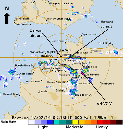 Figure 2: Darwin weather radar picture at 1246 showing the approximate location of VOM while avoiding storm cells