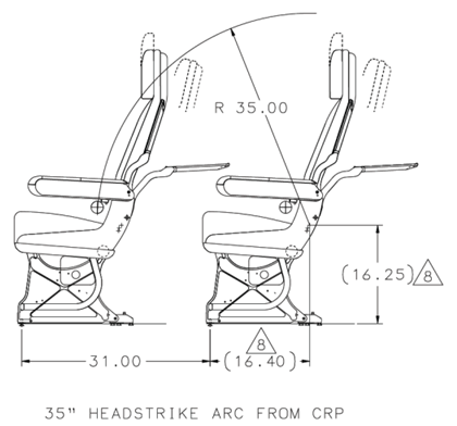 Seating diagram: The Device Retainer (clip) is inside the head arc radius as defined in Joint Aviation Requirement (JAR) 25 Change 13, Section 2, ACJ 25.785(c)