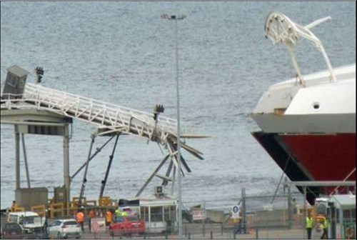 Figure 5: Photograph showing damaged upper vehicle ramp near Spirit of Tasmania II's bow