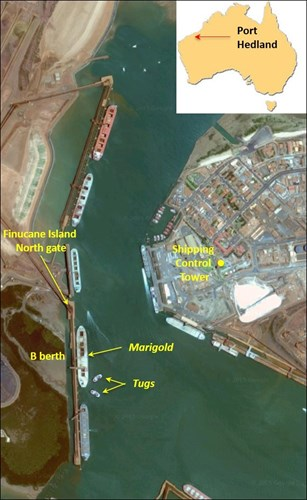 Aerial view showing Marigold at Port Hedland