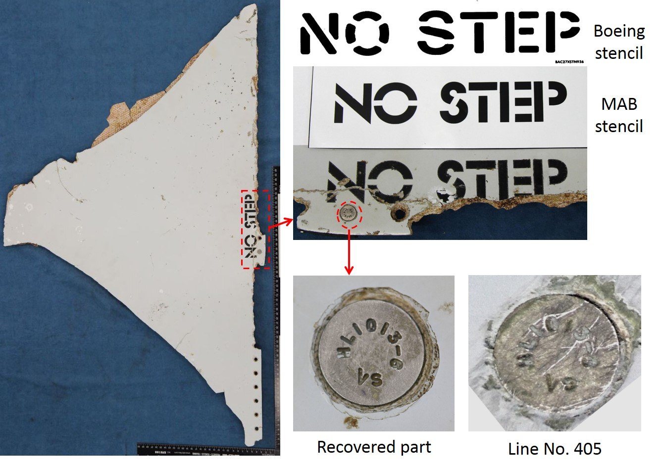 "Stabiliser panel ""NO STEP"" stencil and fastener comparison"