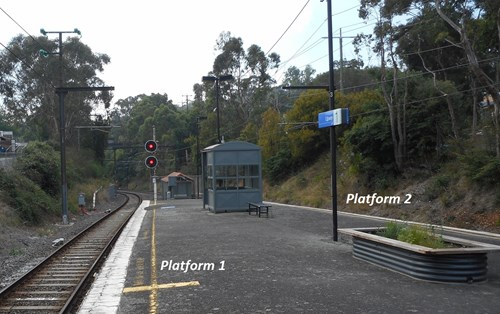 Upwey railway station looking towards Upper Ferntree Gully and signal № 42