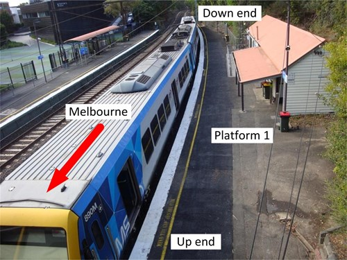 Figure 4 – Platform 1 of Heyington Railway Station (3–car set at platform)