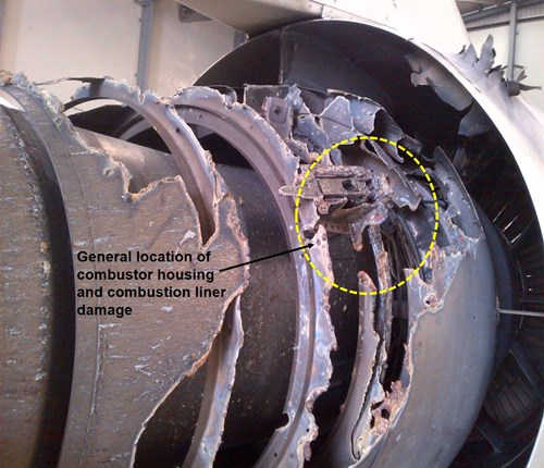 Figure 1: Right side of the No.2 engine showing the fire damage to the combustor housing and liner (looking forward)