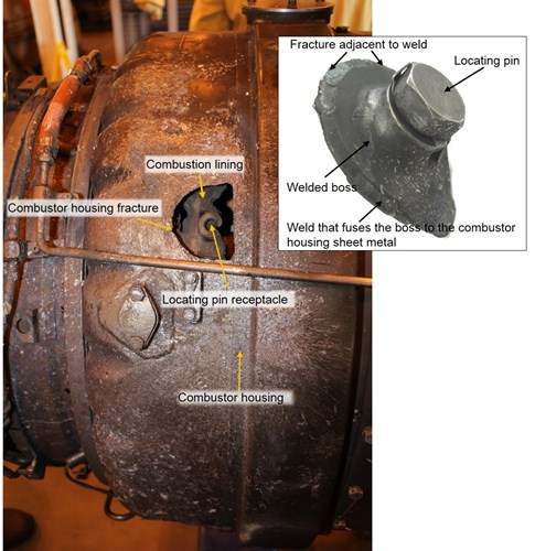 Figure 4: No. 2 engine showing the combustor housing, combustion liner (seen internal to the combustor housing) and insert image showing the locating pin secured in the fractured welded boss