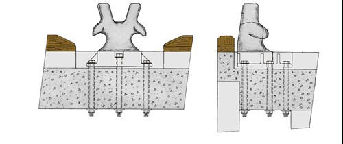 Figure 6: Side, front and plan elevations of the bollard