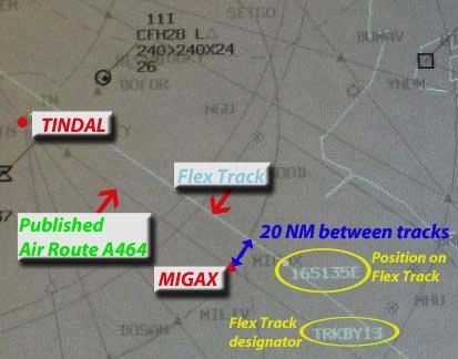 Figure 6: Air situation display image of track positions at the time of the occurrence showing flex track labels and involved tracks and routes