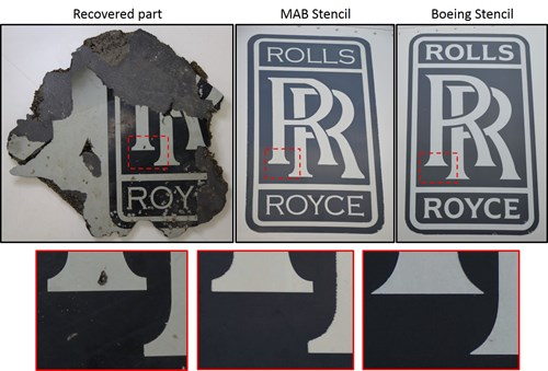 This figure shows the comparison between the found part with the RR logo on it with a Malaysian Airlines stencil and a Boeing stencil.  Features on the found part logo are most similar to the Malaysian Airlines stencil.