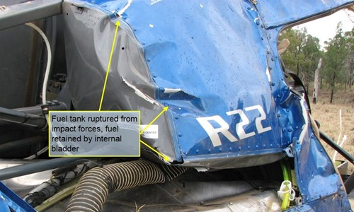 Figure 5: Ruptured aluminium main fuel tank. Note that the remaining fuel was retained by the internal fuel bladder