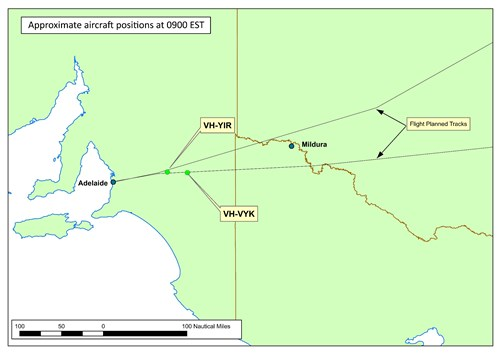 Figure 3: Approximate aircraft positions at 0900, just prior to initiating the diversion to Mildura