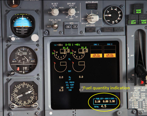 Figure 4: Location of the fuel quantity indication on the upper display unit (circled in yellow)