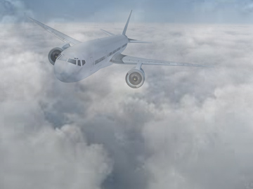 Stock photo of passenger aircraft in cloud