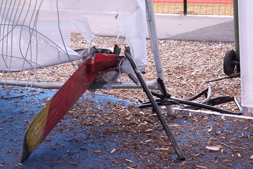 Figure 6: Main rotor debris imbedded in the marquee in the passenger staging area