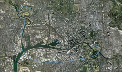 Figure 1: Previous flight path of VH-VDZ from Flemington Racecourse to Olympic Park. Yarra River passing through the image