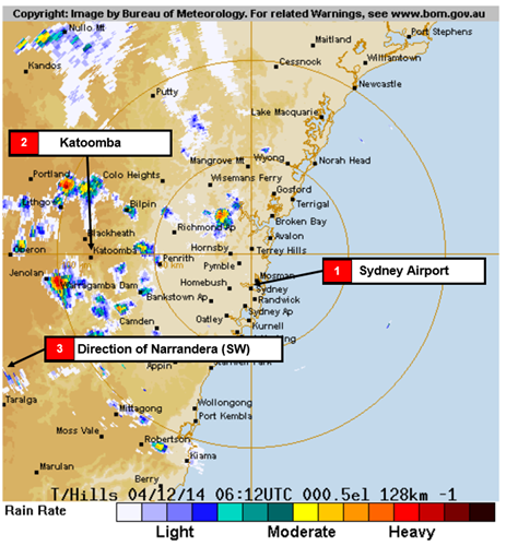 Figure 3: Bureau of Meteorology radar image at 1712 showing rain to the west and northwest of Sydney Airport.