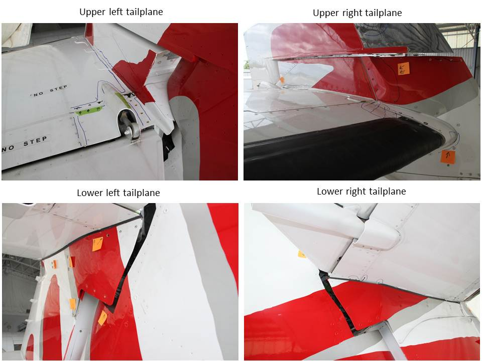 Figure 6: Tailplane external damage (indicated by marks and stickers) with the aerodynamic fairings installed
