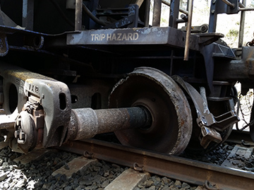 Derailed bogie viewed from Down side of track