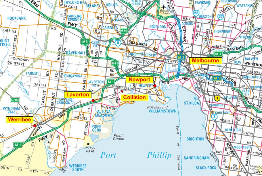 Figure 1: Location map – Showing train line from Werribee to Melbourne and location of collision