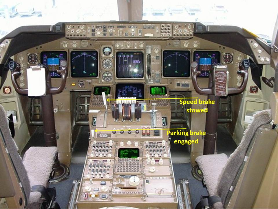 Figure 5: Cockpit control layout, showing the location of the speed brake and parking brake controls