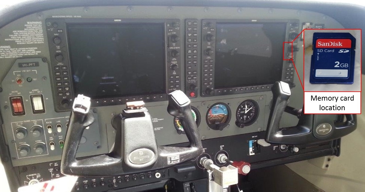 Figure 3: Garmin G1000 avionics system showing normal location of the memory card, as well as the recovered memory card