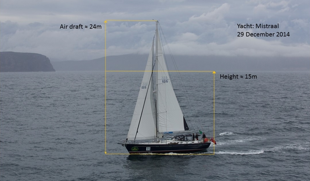 Figure 8: An image of the yacht Mistraal, taken by the photographer immediately prior to the accident, with the air photography height calculation overlaid