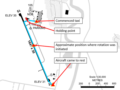 Figure 1: Lismore Airport showing aircraft track. Source: Airservices Australia – annotated by ATSB