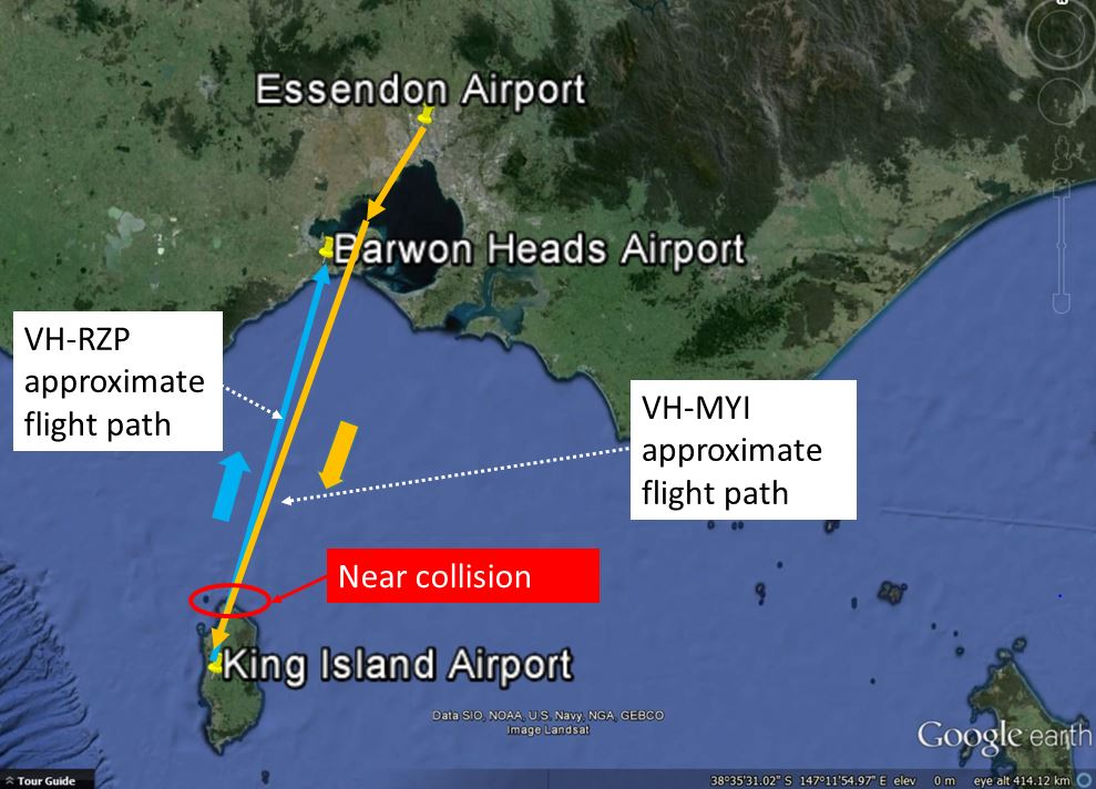 Figure 1: Approximate flight paths of Cessna 150 VH-RZP and SA227 VH-MYI