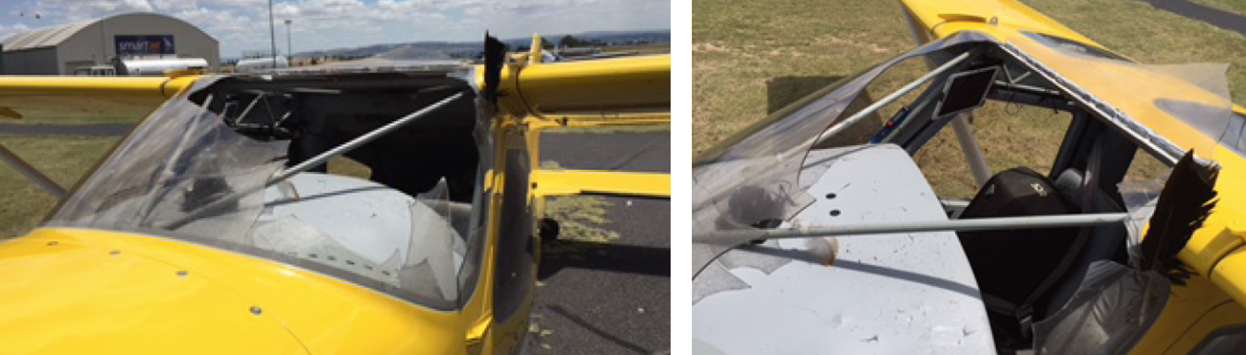 Figure 1: Damage to the aircraft windscreen