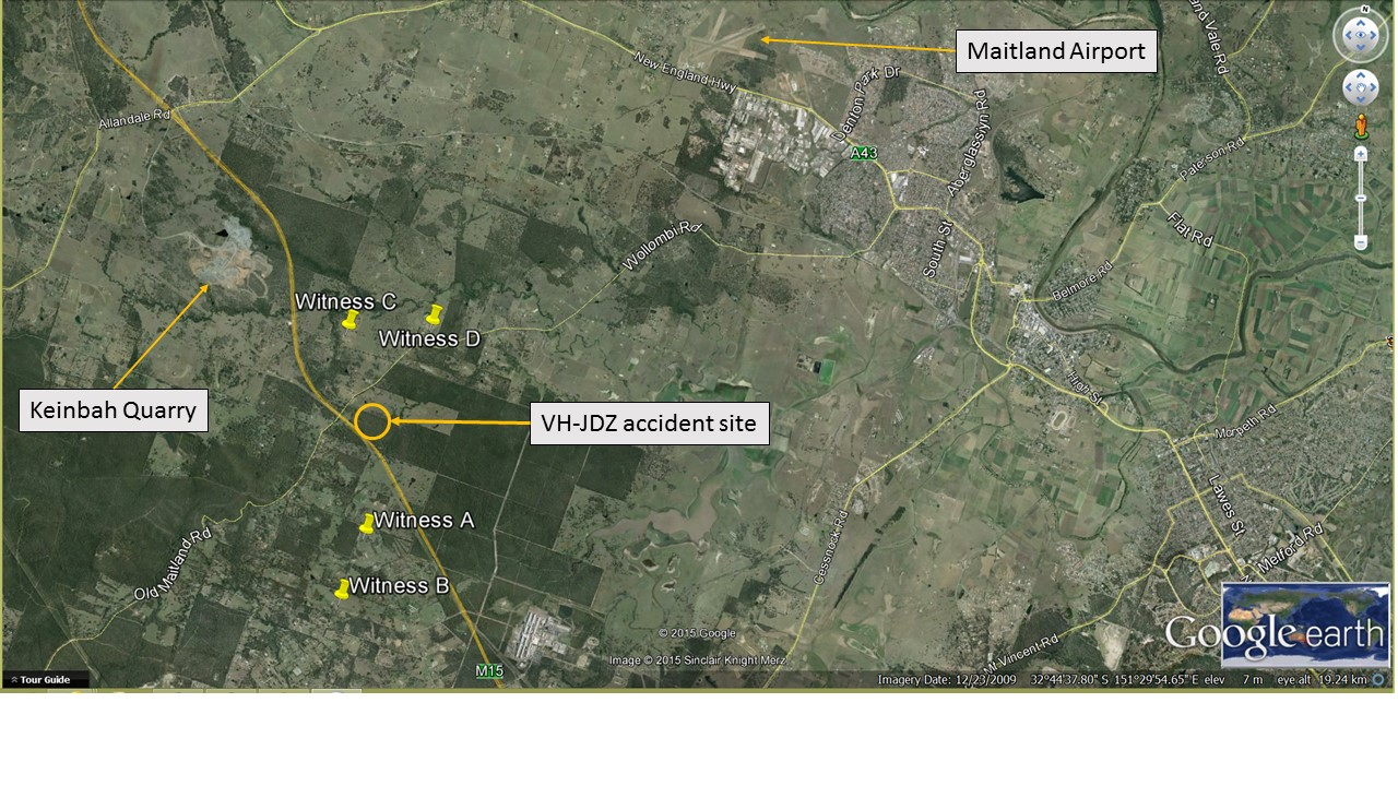 Figure 2: Witness location with reference to the accident site