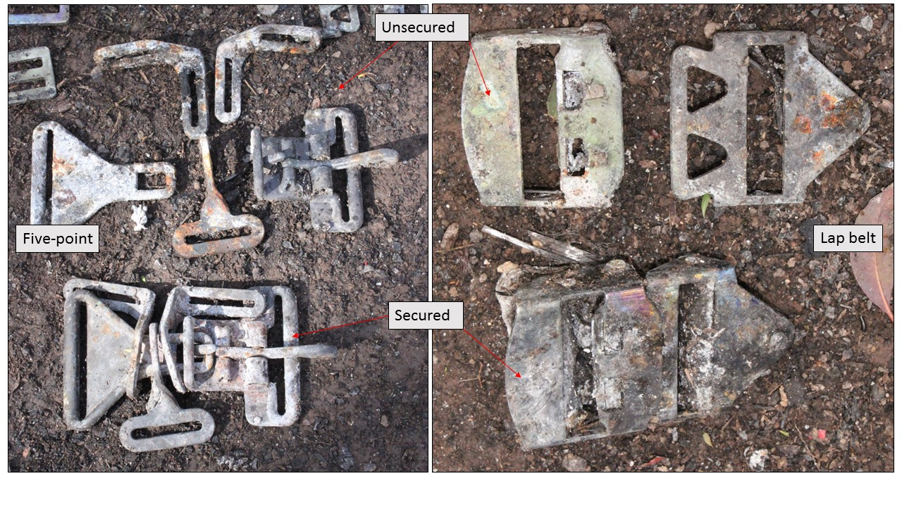 Figure 3: As-found five-point and lap-belt harness buckles. Of these four buckle sets, one of each type was secured (see the lower left and right images below)