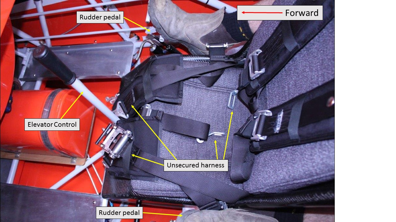 Figure 4: Unsecured forward seat harness, showing the potential for the harness to interfere with the flight controls, in particular during aerobatic manoeuvres