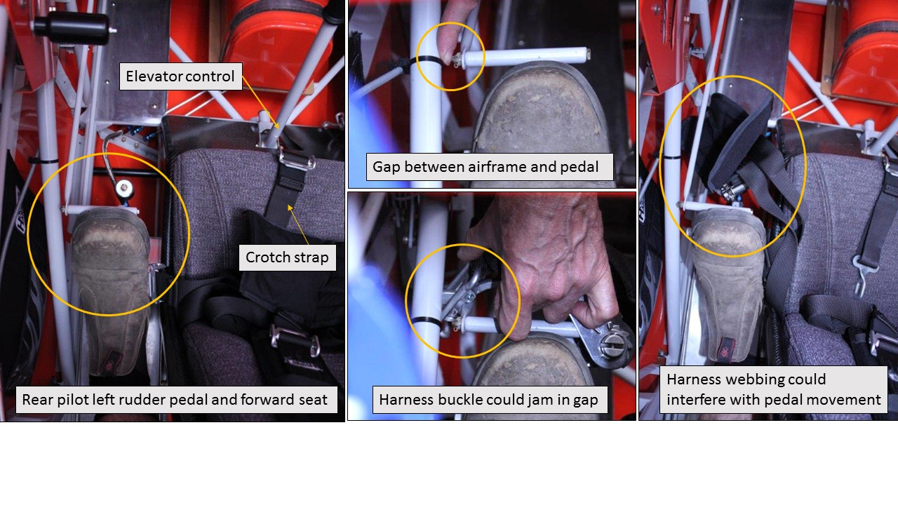 Figure A2: Possible rudder pedal interference from an unsecured forward seat harness