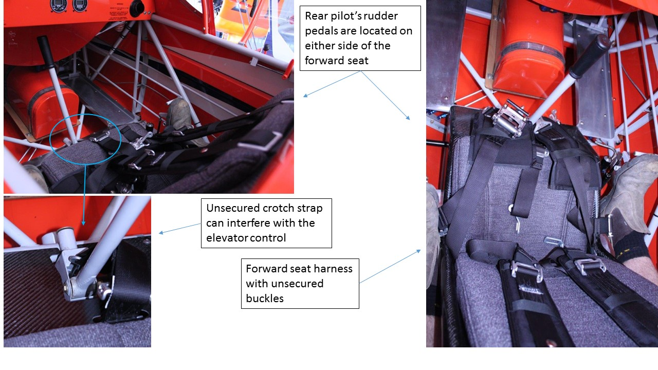 Figure A3: Possible elevator control interference from an unsecured forward seat harness