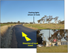 Figure 4:	View approaching railway crossing at 300 m (Inset 30 x zoom). Source: ATSB