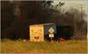 Figure 8: Post-collision fire, road-train truck (trailers) at Tullamore – Narromine Road railway crossing. Source: P. Smith