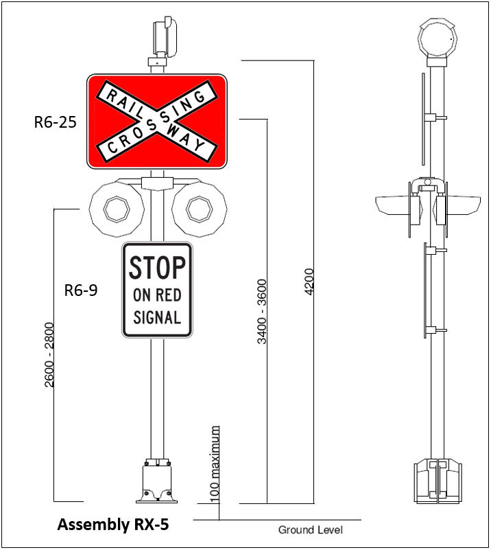 Figure 12:	Typical railway crossing signal assembly, (RX-5) complete with four lamp units, 'Rail Way Crossing' sign, and 'Stop on Red Signal' sign